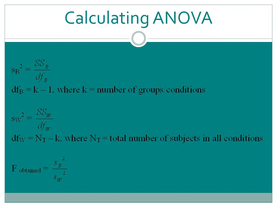 Calculating ANOVA