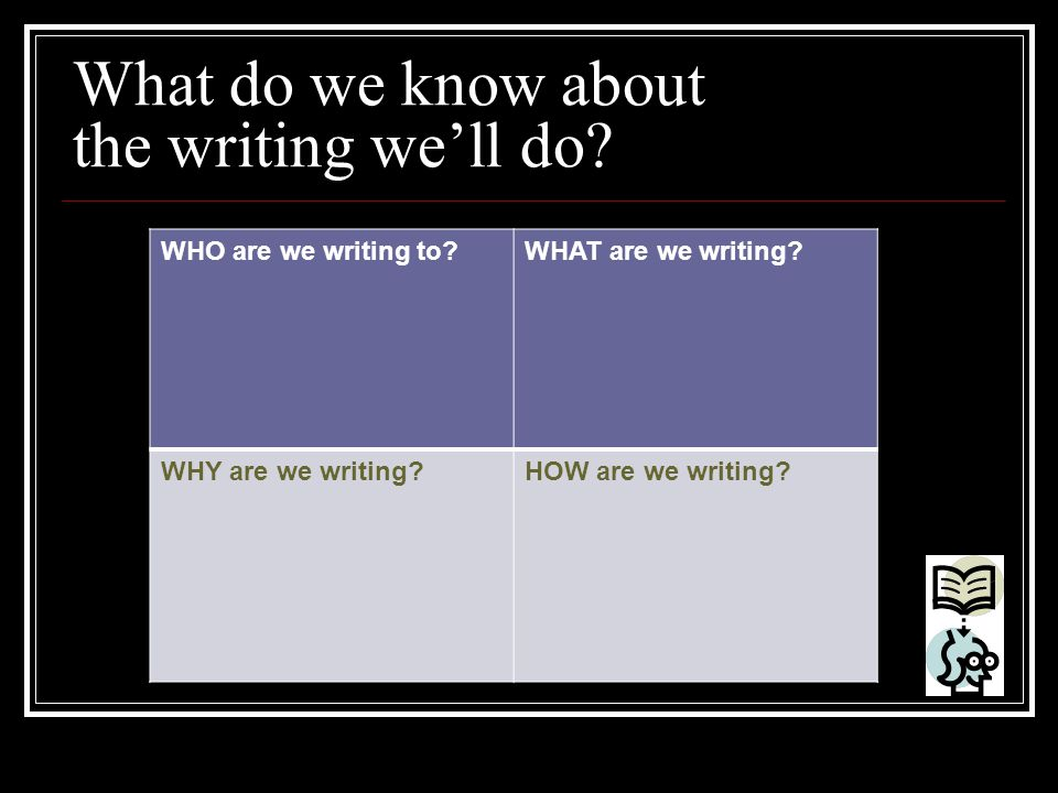 What do we know about the writing we'll do? WHO are we writing to?WHAT are we writing? WHY are we writing?HOW are we writing?