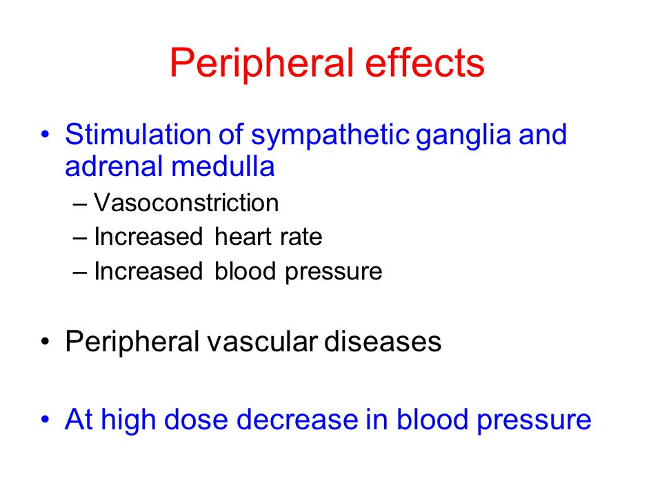 Peripheral effects Stimulation of sympathetic ganglia and adrenal medulla –Vasoconstriction –Increased heart rate –Increased blood pressure Peripheral vascular diseases At high dose decrease in blood pressure