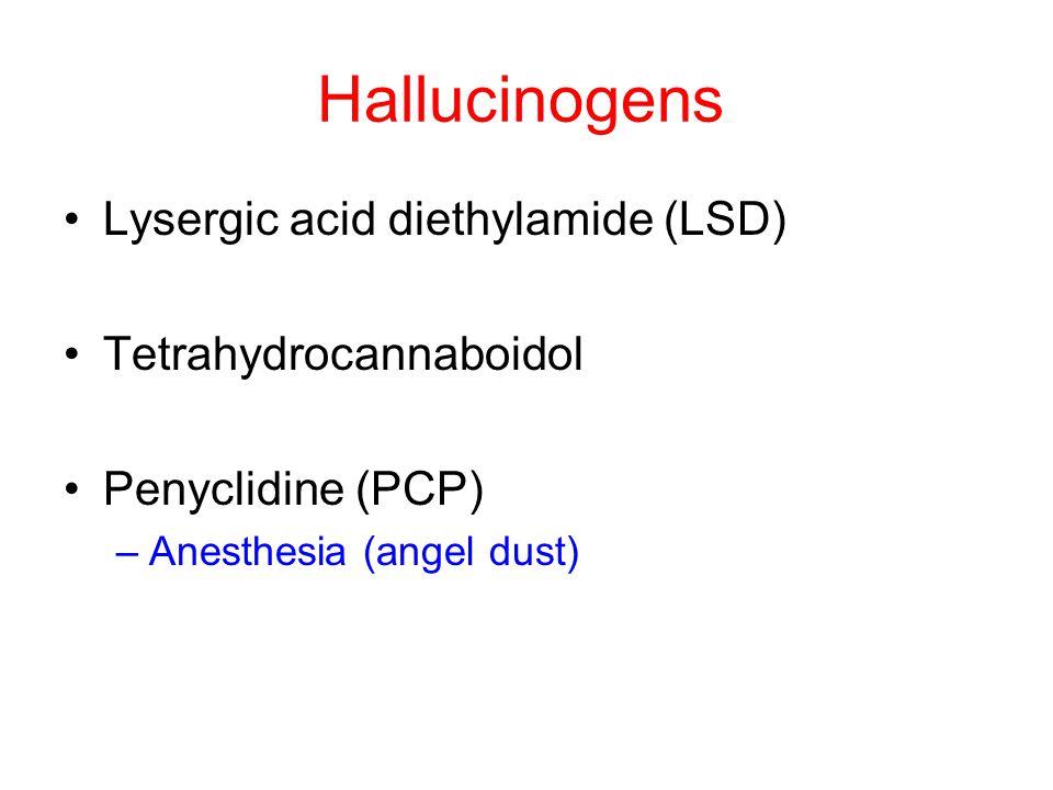 Hallucinogens Lysergic acid diethylamide (LSD) Tetrahydrocannaboidol Penyclidine (PCP) –Anesthesia (angel dust)