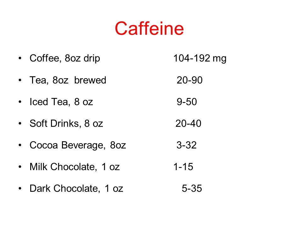 Caffeine Coffee, 8oz drip 104-192 mg Tea, 8oz brewed 20-90 Iced Tea, 8 oz 9-50 Soft Drinks, 8 oz 20-40 Cocoa Beverage, 8oz 3-32 Milk Chocolate, 1 oz 1-15 Dark Chocolate, 1 oz 5-35