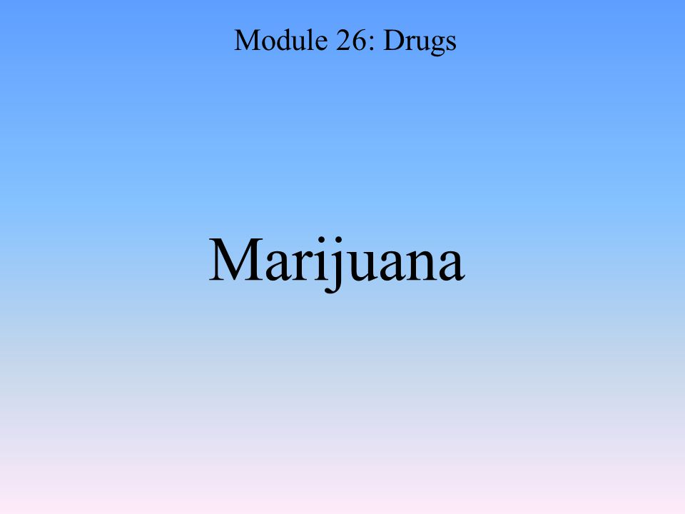 Marijuana Module 26: Drugs