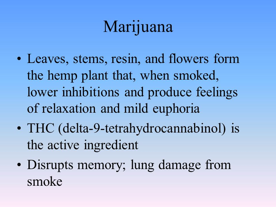 Marijuana Leaves, stems, resin, and flowers form the hemp plant that, when smoked, lower inhibitions and produce feelings of relaxation and mild eupho