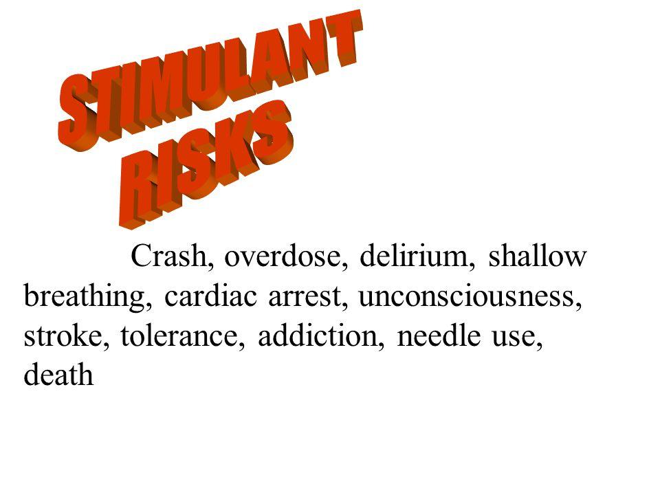 Crash, overdose, delirium, shallow breathing, cardiac arrest, unconsciousness, stroke, tolerance, addiction, needle use, death