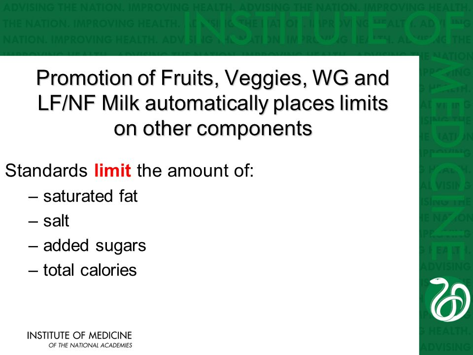 Promotion of Fruits, Veggies, WG and LF/NF Milk automatically places limits on other components Standards limit the amount of: –saturated fat –salt –added sugars –total calories