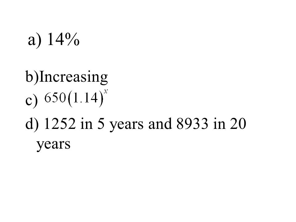 a) 14% b)Increasing c) d) 1252 in 5 years and 8933 in 20 years