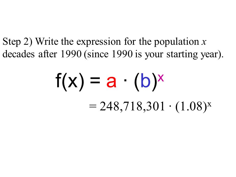 Step 2) Write the expression for the population x decades after 1990 (since 1990 is your starting year). = 248,718,301 · (1.08) x f(x) = a · (b) x