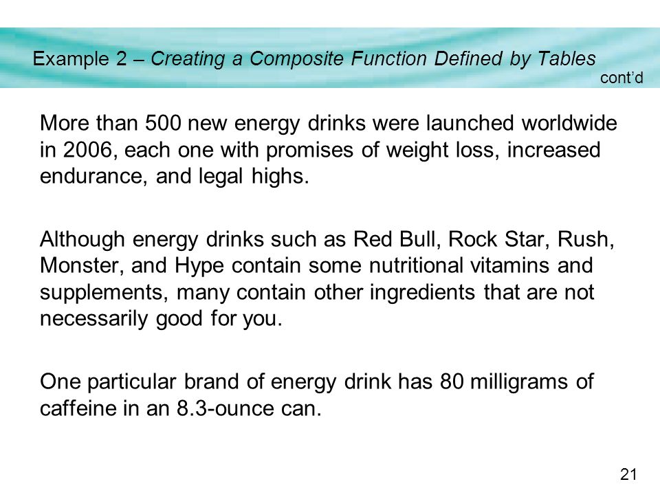 21 Example 2 – Creating a Composite Function Defined by Tables More than 500 new energy drinks were launched worldwide in 2006, each one with promises of weight loss, increased endurance, and legal highs.