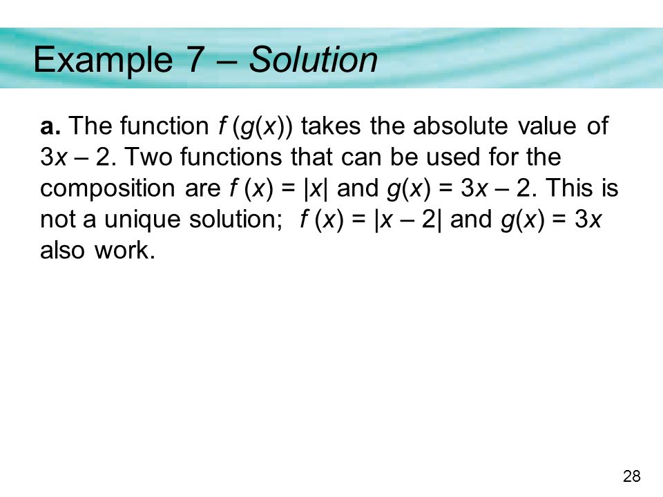 28 Example 7 – Solution a. The function f (g(x)) takes the absolute value of 3x – 2.
