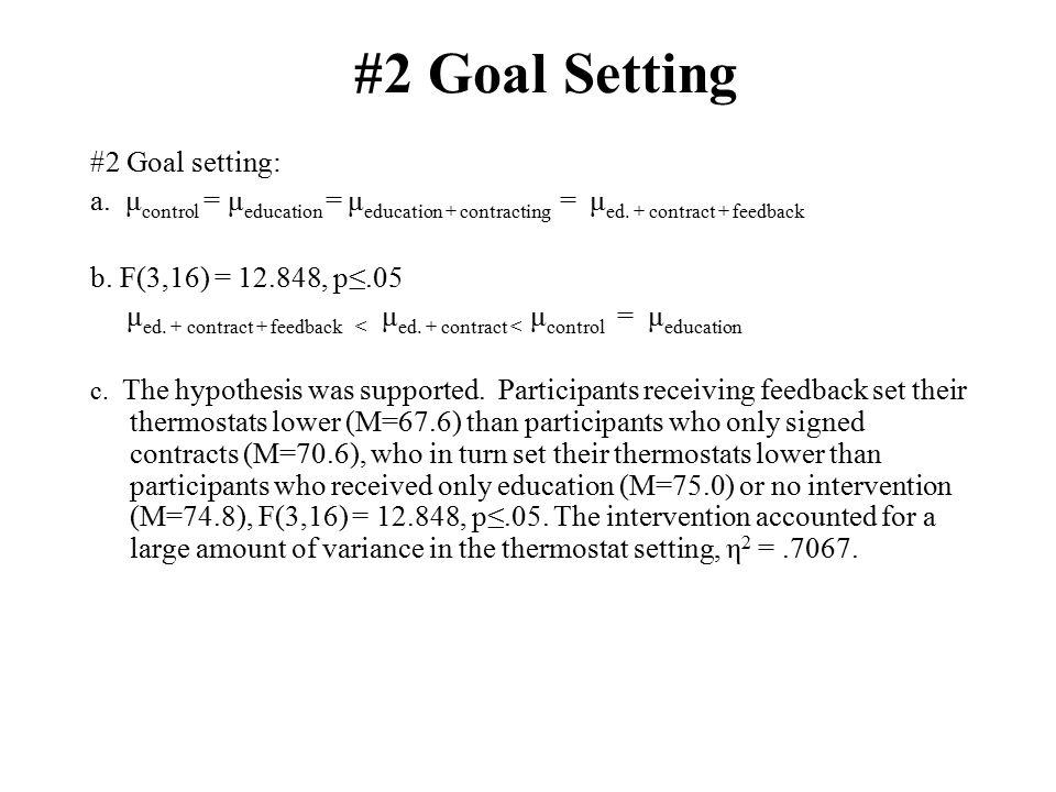 #2 Goal Setting #2 Goal setting: a. μ control = μ education = μ education + contracting = μ ed.