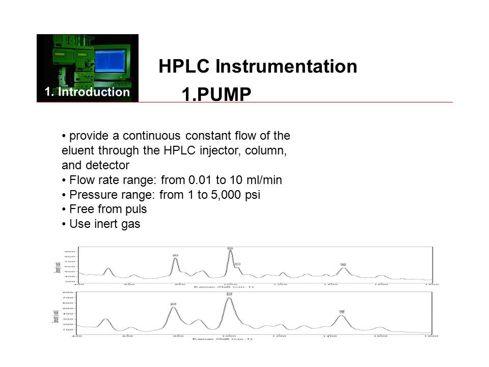 HPLC Instrumentation provide a continuous constant flow of the eluent through the HPLC injector, column, and detector Flow rate range: from 0.01 to 10 ml/min Pressure range: from 1 to 5,000 psi Free from puls Use inert gas 1.PUMP