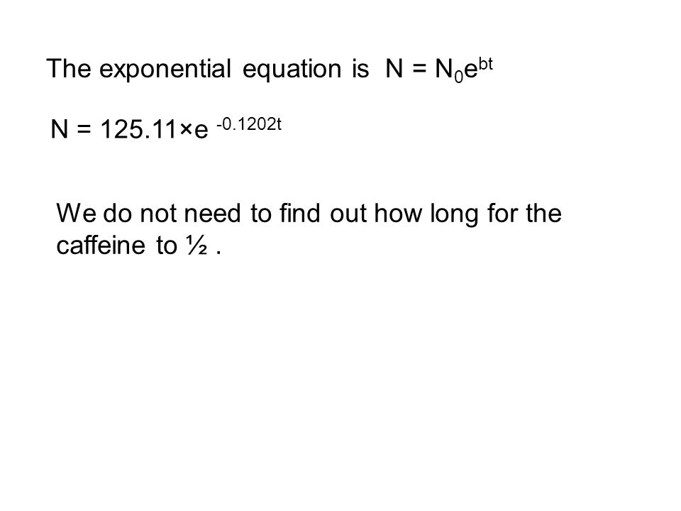 Using the Equation The exponential curve for the data earlier was given by N = 125.11e -0.1202t.