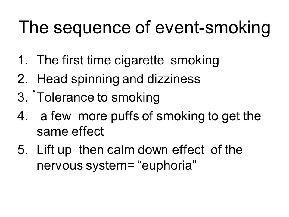 The sequence of event-smoking 1.The first time cigarette smoking 2.Head spinning and dizziness 3.Tolerance to smoking 4. a few more puffs of smoking t
