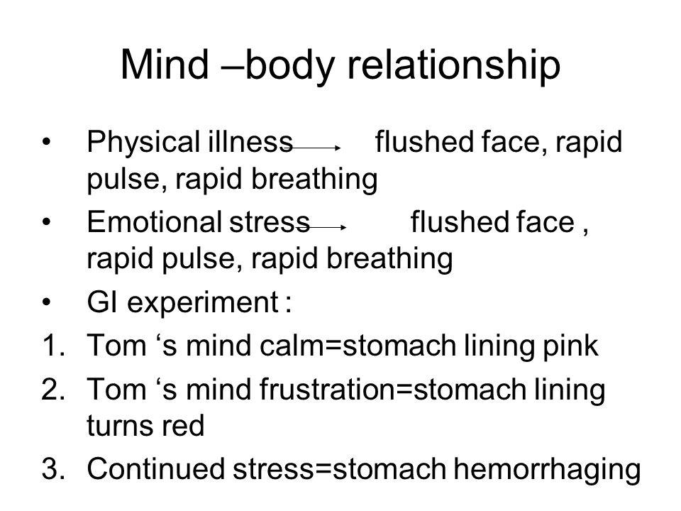 Mind –body relationship Physical illness flushed face, rapid pulse, rapid breathing Emotional stress flushed face, rapid pulse, rapid breathing GI exp