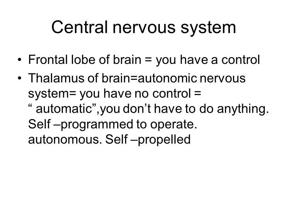 "Central nervous system Frontal lobe of brain = you have a control Thalamus of brain=autonomic nervous system= you have no control = "" automatic"",you d"