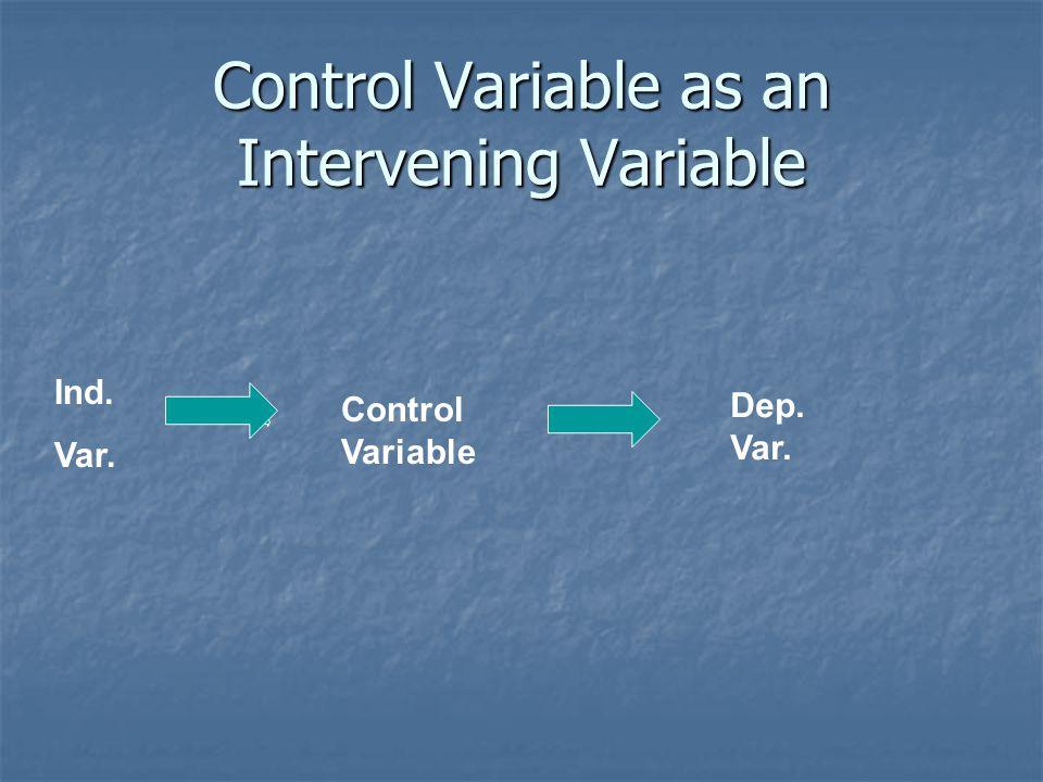 Control Variable as an Intervening Variable Ind. Var. Control Variable Dep. Var.