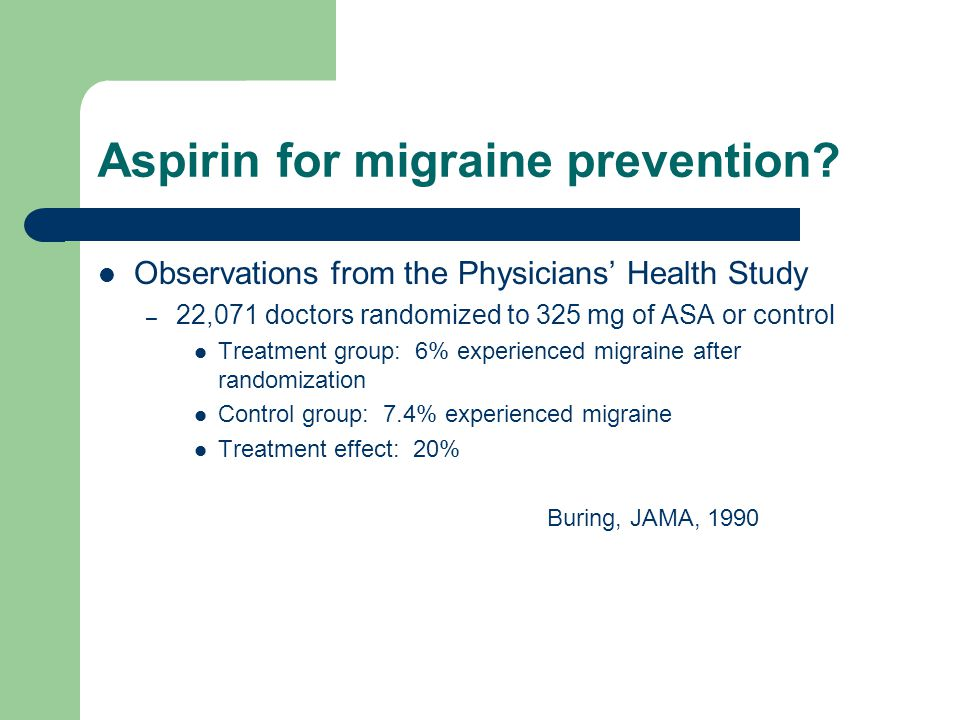 Aspirin for migraine prevention.