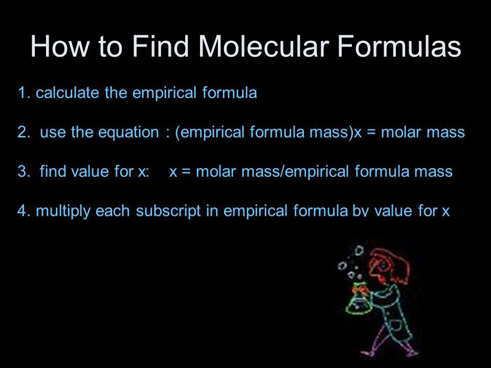 How to Find Molecular Formulas 1.calculate the empirical formula 2.