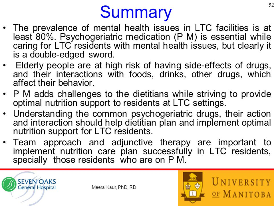 Summary The prevalence of mental health issues in LTC facilities is at least 80%.