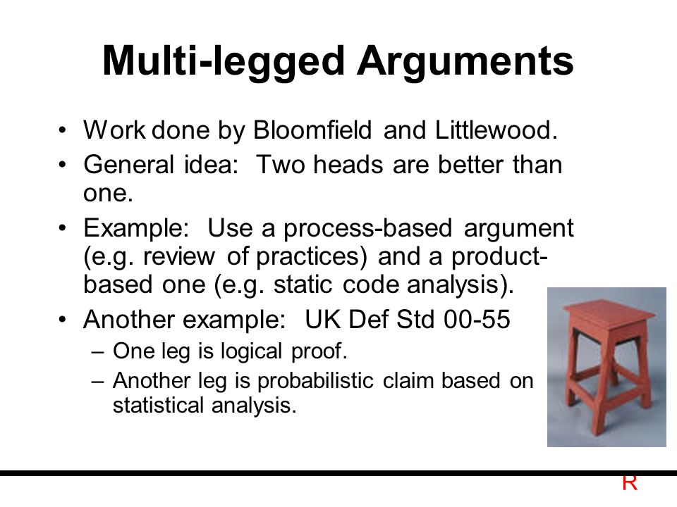 R Multi-legged Arguments Work done by Bloomfield and Littlewood.