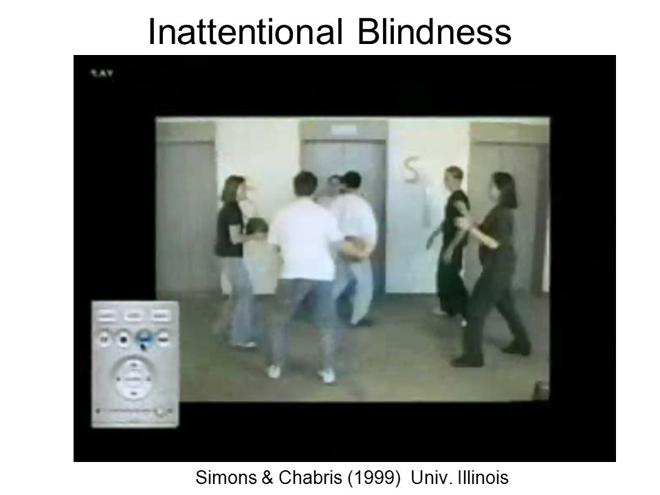 Change Blindness Change blindness is a form of inattentional blindness in which two-thirds of individuals giving directions failed to notice a change in the individual asking for directions.