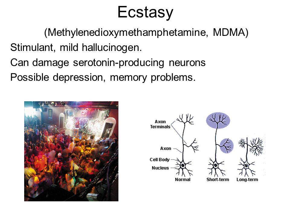 Ecstasy (Methylenedioxymethamphetamine, MDMA) Stimulant, mild hallucinogen.