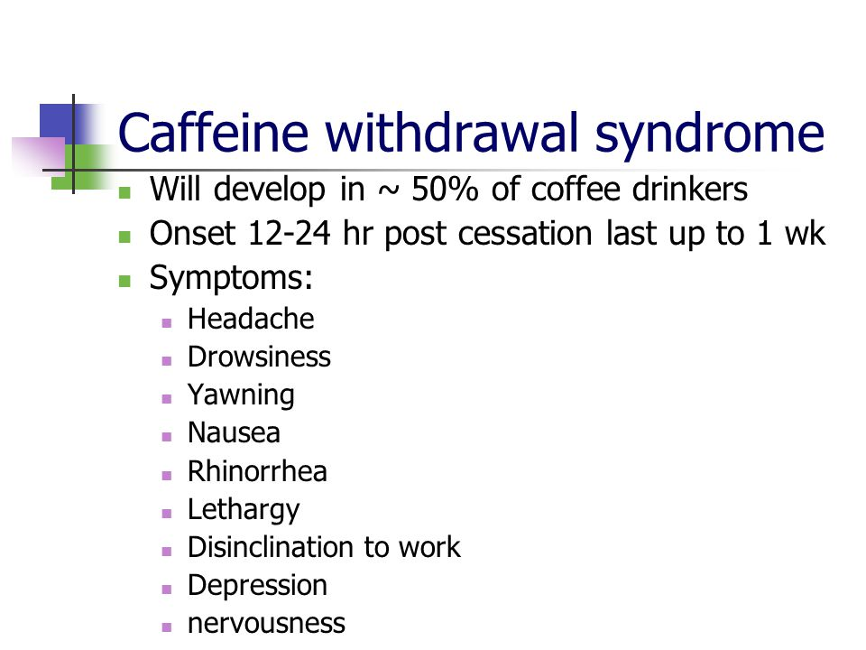 Caffeinism Chronic toxicity Anxiety Tachycardia Diuresis Headache diarrhea