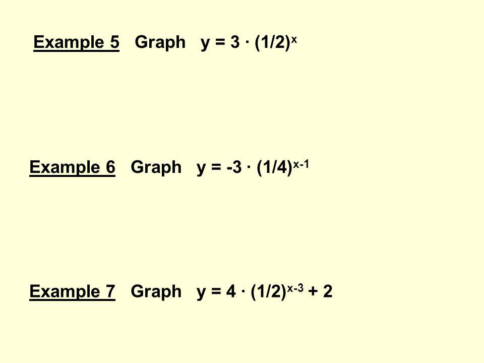 Example 5 Graph y = 3 · (1/2) x Example 6 Graph y = -3 · (1/4) x-1 Example 7 Graph y = 4 · (1/2) x-3 + 2