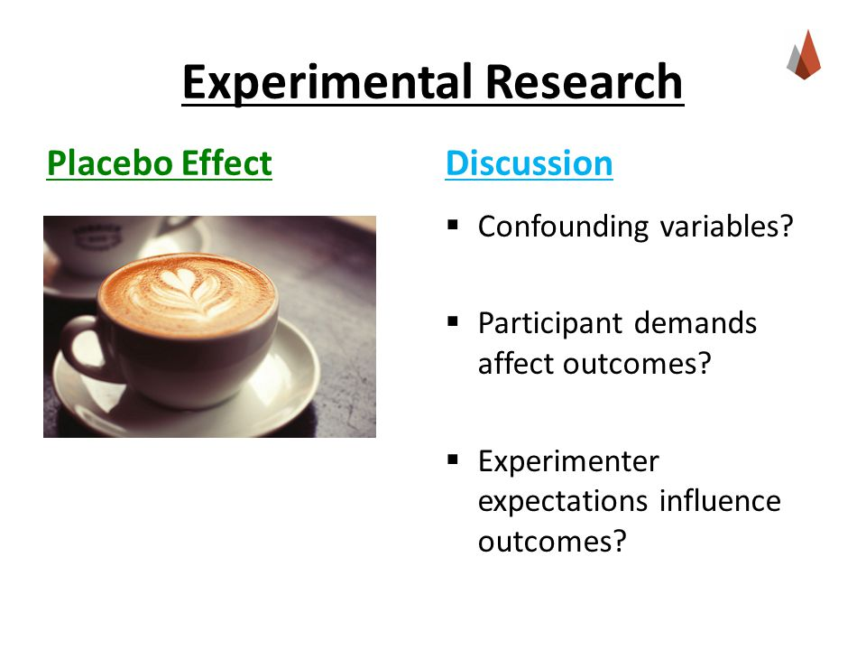 Experimental Research Placebo Effect  Confounding variables.