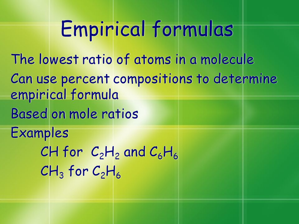 Empirical formulas The lowest ratio of atoms in a molecule Can use percent compositions to determine empirical formula Based on mole ratios Examples CH for C 2 H 2 and C 6 H 6 CH 3 for C 2 H 6 The lowest ratio of atoms in a molecule Can use percent compositions to determine empirical formula Based on mole ratios Examples CH for C 2 H 2 and C 6 H 6 CH 3 for C 2 H 6