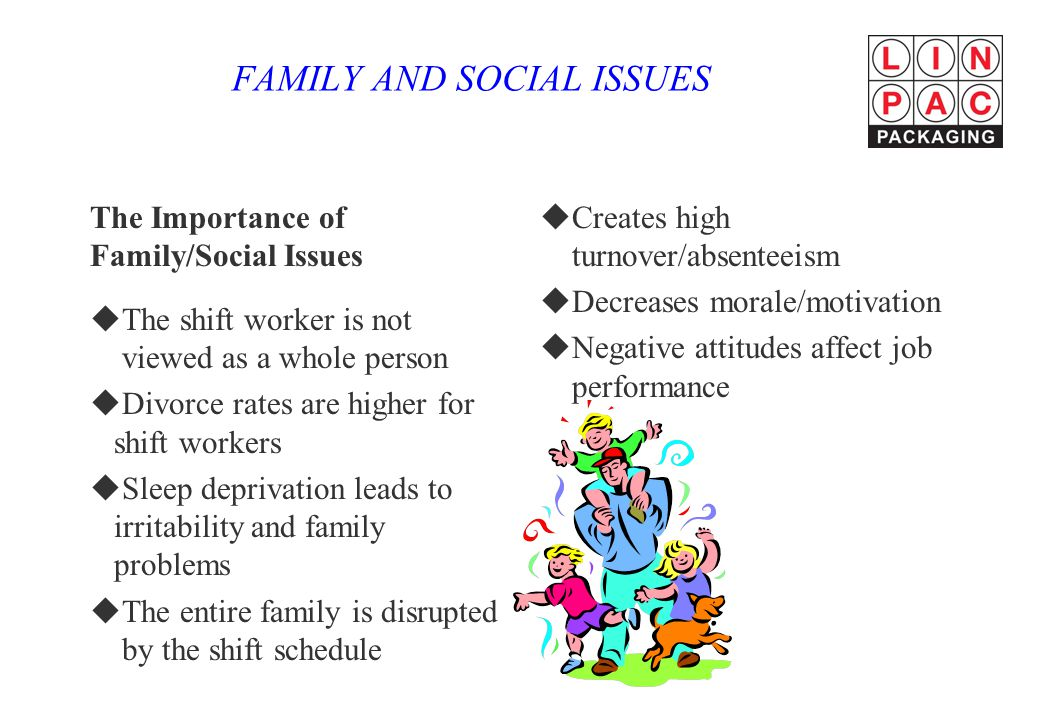 FAMILY AND SOCIAL ISSUES The Importance of Family/Social Issues uThe shift worker is not viewed as a whole person uDivorce rates are higher for shift workers uSleep deprivation leads to irritability and family problems uThe entire family is disrupted by the shift schedule uCreates high turnover/absenteeism uDecreases morale/motivation uNegative attitudes affect job performance