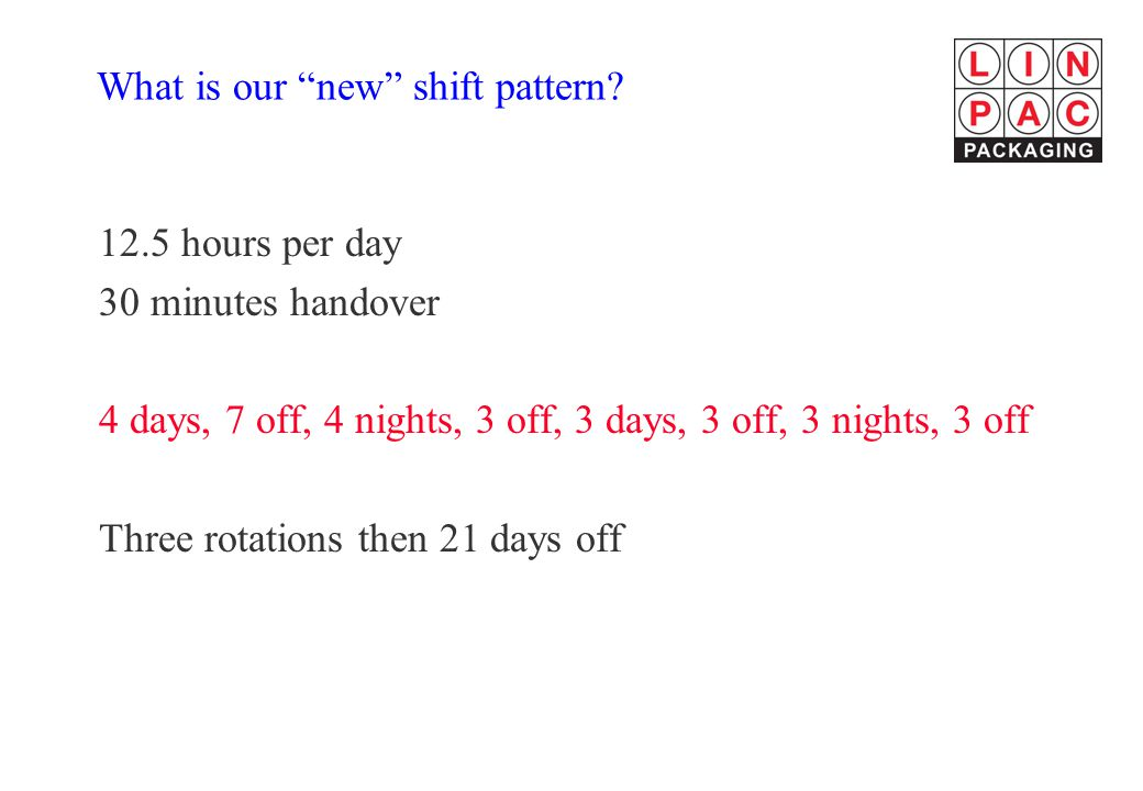 What is our new shift pattern.