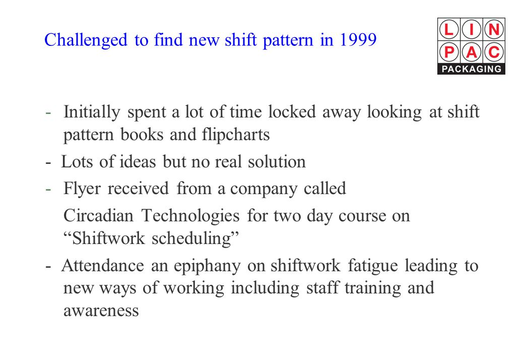 Challenged to find new shift pattern in 1999 -Initially spent a lot of time locked away looking at shift pattern books and flipcharts - Lots of ideas but no real solution -Flyer received from a company called Circadian Technologies for two day course on Shiftwork scheduling - Attendance an epiphany on shiftwork fatigue leading to new ways of working including staff training and awareness