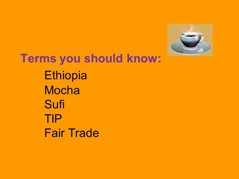 Terms you should know: Ethiopia Mocha Sufi TIP Fair Trade