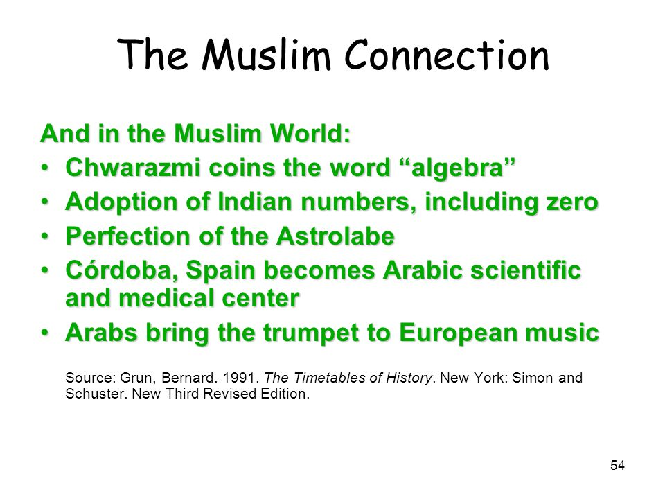 """54 The Muslim Connection And in the Muslim World: Chwarazmi coins the word """"algebra""""Chwarazmi coins the word """"algebra"""" Adoption of Indian numbers, inc"""