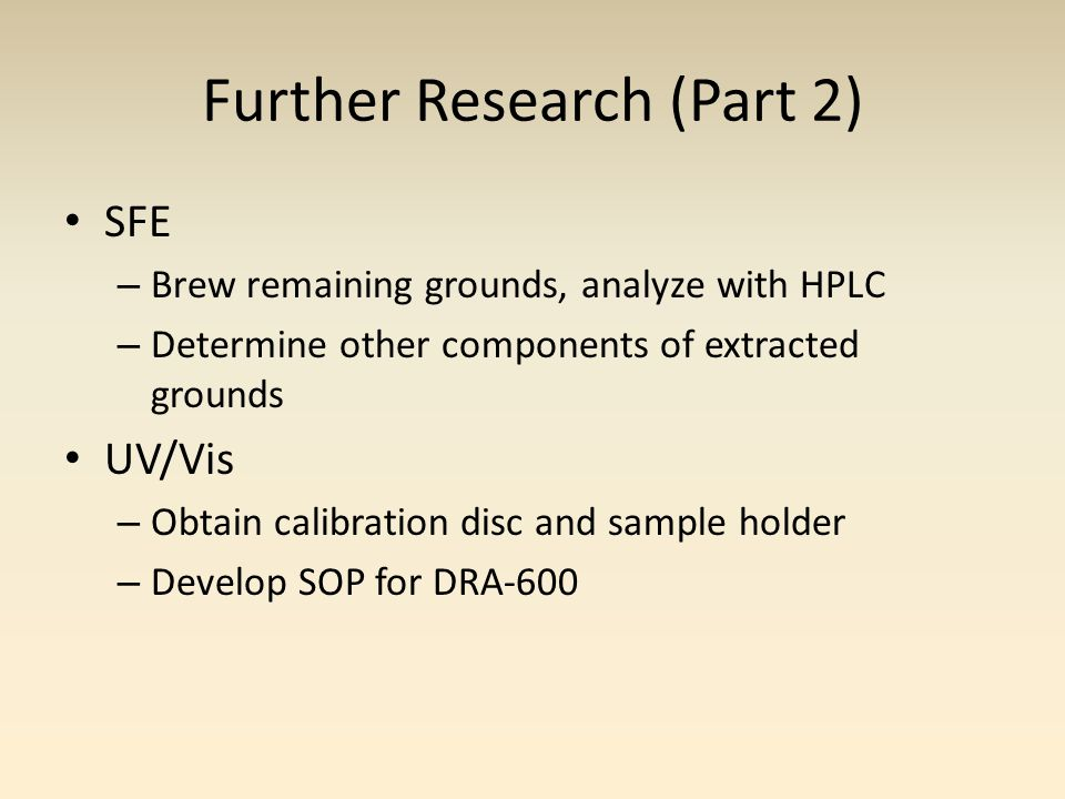 Further Research (Part 2) SFE – Brew remaining grounds, analyze with HPLC – Determine other components of extracted grounds UV/Vis – Obtain calibration disc and sample holder – Develop SOP for DRA-600