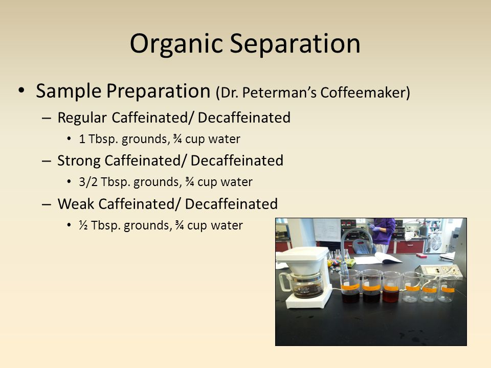 Organic Separation Sample Preparation (Dr. Peterman's Coffeemaker) – Regular Caffeinated/ Decaffeinated 1 Tbsp. grounds, ¾ cup water – Strong Caffeina