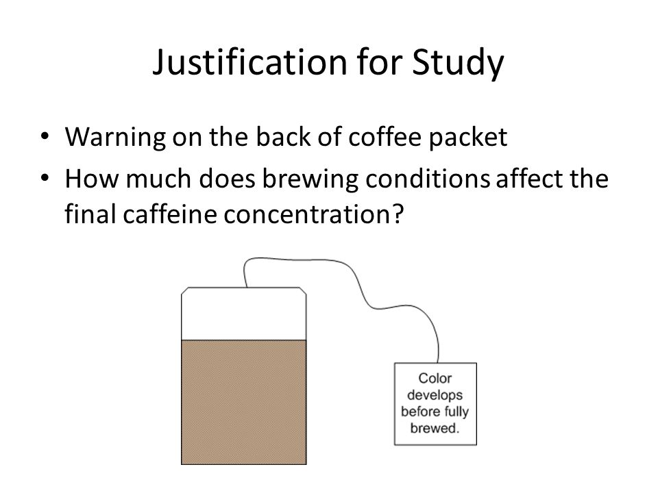 Justification for Study Warning on the back of coffee packet How much does brewing conditions affect the final caffeine concentration