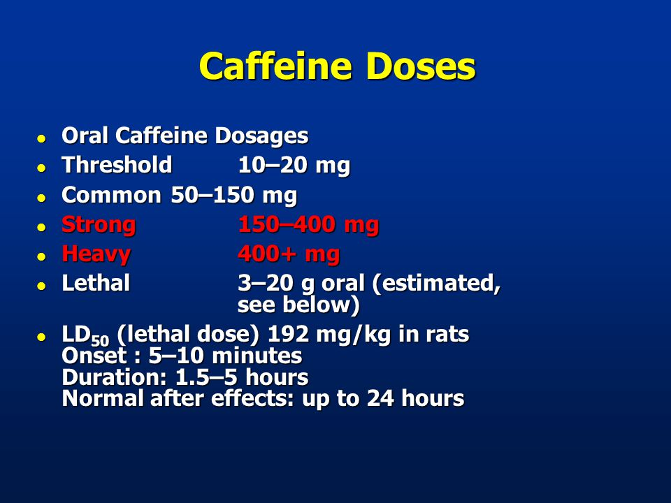 Caffeine Doses l Oral Caffeine Dosages l Threshold10–20 mg l Common50–150 mg l Strong150–400 mg l Heavy400+ mg l Lethal3–20 g oral (estimated, see below) l LD 50 (lethal dose) 192 mg/kg in rats Onset : 5–10 minutes Duration: 1.5–5 hours Normal after effects: up to 24 hours
