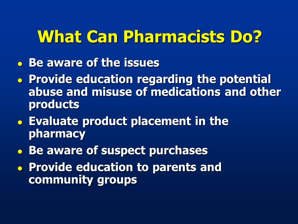 What Can Pharmacists Do.