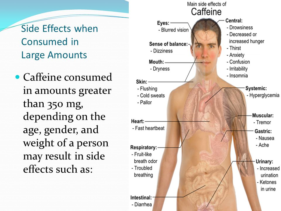 Side Effects when Consumed in Large Amounts Caffeine consumed in amounts greater than 350 mg, depending on the age, gender, and weight of a person may result in side effects such as: