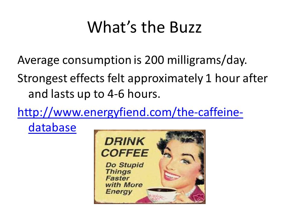 What's the Buzz Average consumption is 200 milligrams/day.