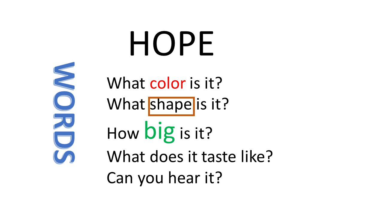 HOPE What color is it? What shape is it? How big is it? What does it taste like? Can you hear it?
