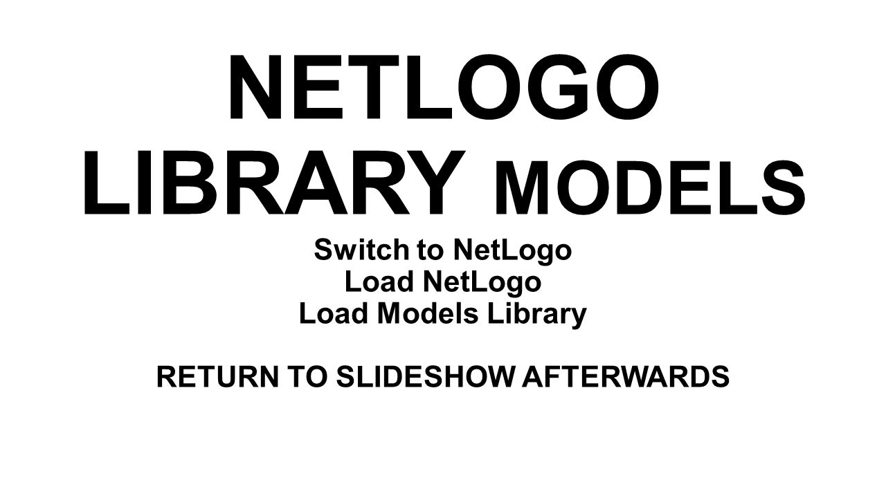 NETLOGO LIBRARY MODELS Switch to NetLogo Load NetLogo Load Models Library RETURN TO SLIDESHOW AFTERWARDS