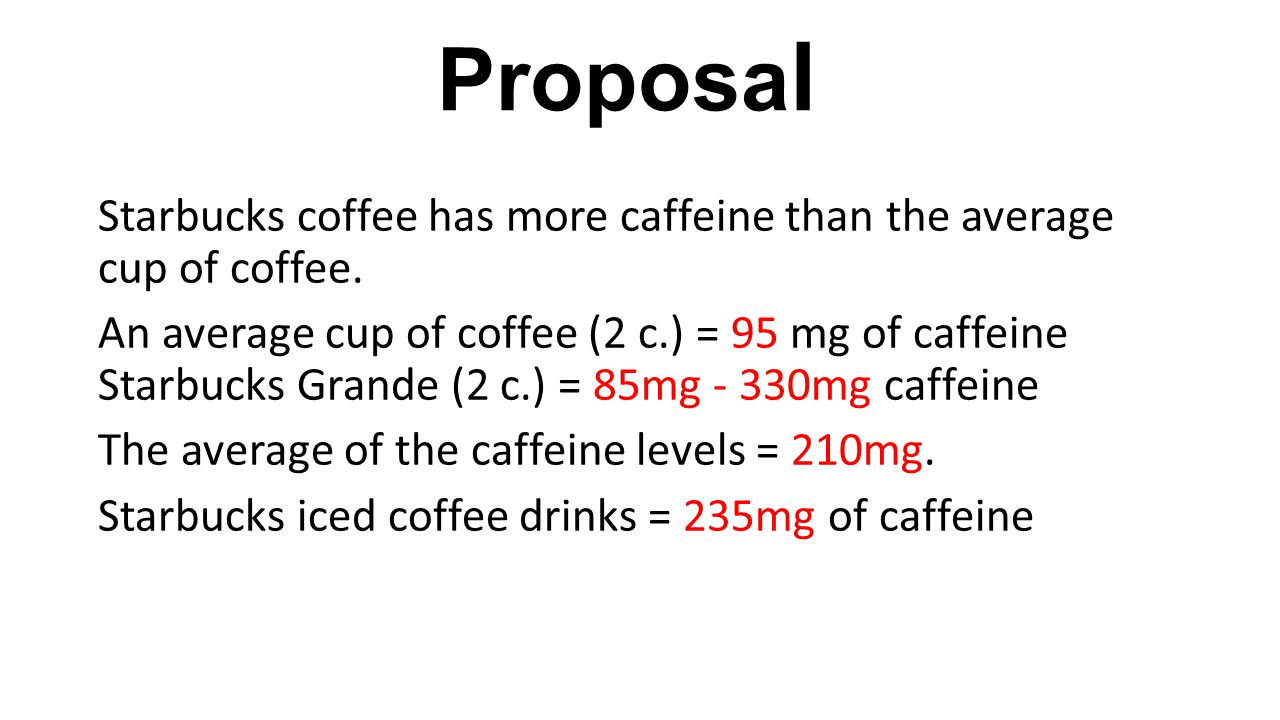 Proposa l Starbucks coffee has more caffeine than the average cup of coffee. An average cup of coffee (2 c.) = 95 mg of caffeine Starbucks Grande (2 c