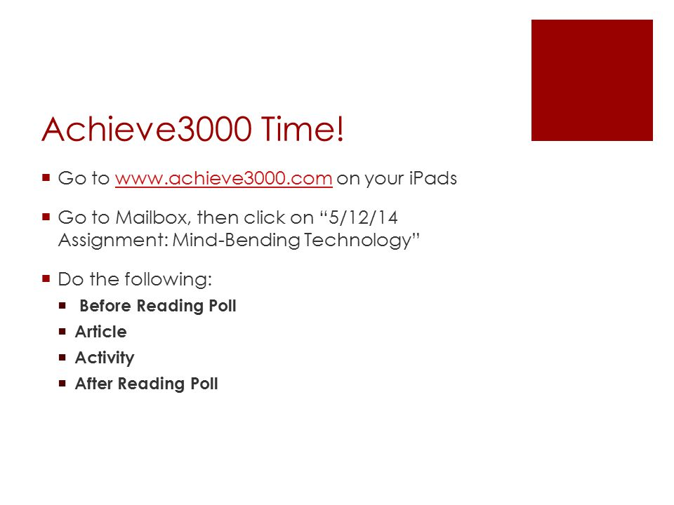 Achieve3000 Time.
