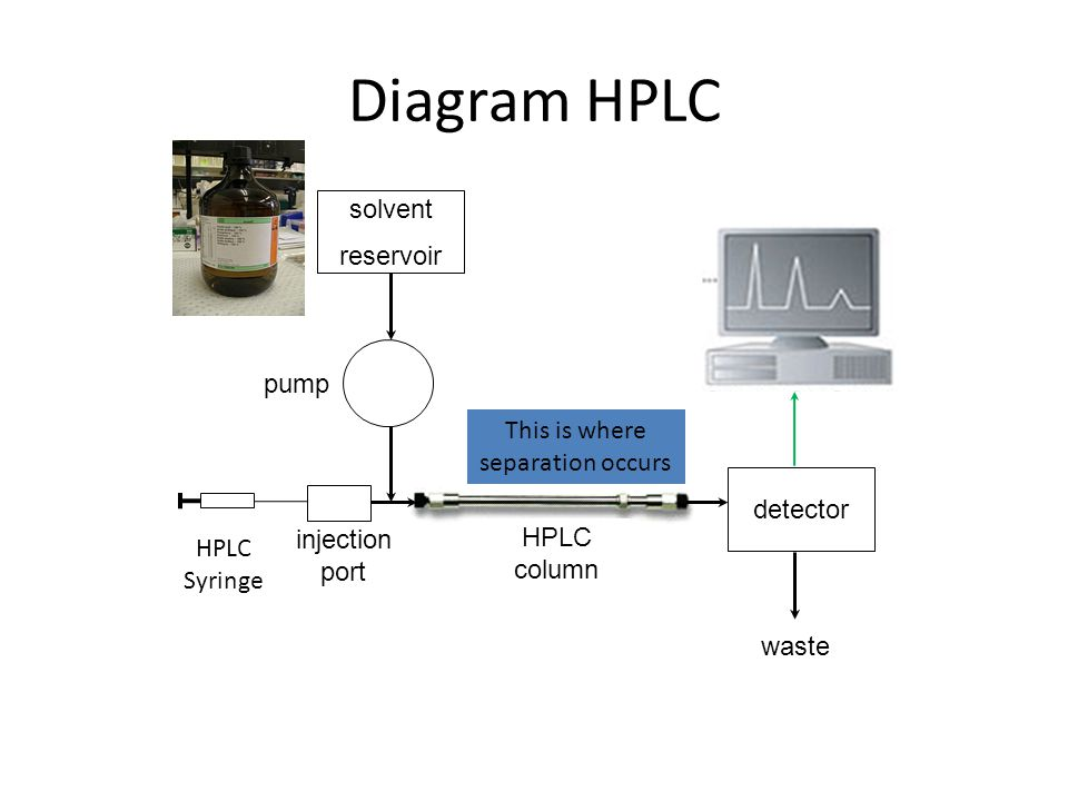 Diagram HPLC solvent reservoir pump detector waste injection port HPLC Syringe HPLC column This is where separation occurs
