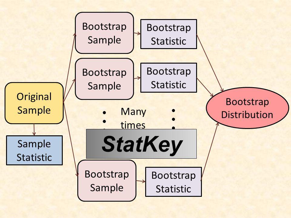 Many times Original Sample Bootstrap Sample ●●●●●● Bootstrap Statistic Sample Statistic Bootstrap Statistic ●●●●●● Bootstrap Distribution We need technology.