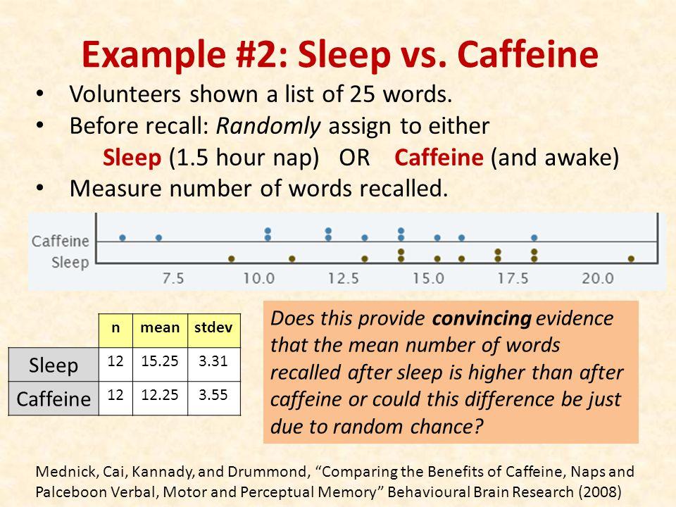 Example #2: Sleep vs. Caffeine Volunteers shown a list of 25 words.
