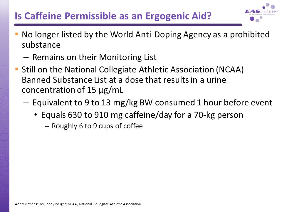 Is Caffeine Permissible as an Ergogenic Aid?  No longer listed by the World Anti-Doping Agency as a prohibited substance – Remains on their Monitorin